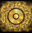 golden vinyl disc on abstract golden blurred vector image