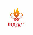grill logo knife with flame logo design vector image vector image