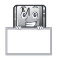 grinning with board button m on a keyboard mascot vector image vector image