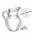 hand drawn sketch style milk glass jug organic vector image
