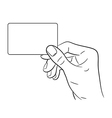 Hand holding a card on white background vector image