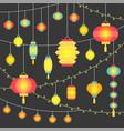 hanging chinese paper lantern vector image