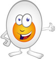 happy egg cartoon mascot character isolated on vector image vector image