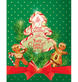 Holiday greeting Card with xmas gingerbread vector image vector image