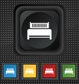 Hotel bed icon sign symbol Squared colourful vector image