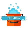 Housekeeping background with bucket and suds vector image vector image