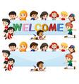 international kids on welcome banner vector image