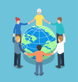 isometric people around world holding hands vector image