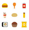 junk food icons set flat style vector image