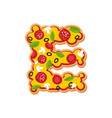 letter e pizza font italian meal alphabet vector image vector image