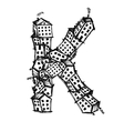 Letter K made from houses alphabet design vector image