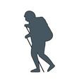 men travel bag camping walking vector image vector image