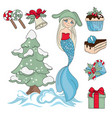 mermaid christmas dreams new year vector image
