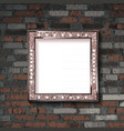 metal frame on old brick wall vector image