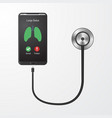 mobile phone and stethoscope vector image vector image