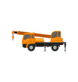orange truck crane heavy machinery with boom and vector image