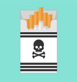 pack of cigarettes with a skull icon isolated on vector image