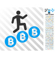 person climb bitcoins flat icon with bonus vector image vector image