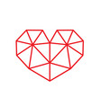 red triangular style heart symbol vector image