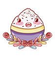 rice bowl kawaii cartoon vector image