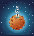 Robot moon space galaxy vector image