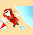 santa claus resting on the beach vector image