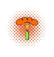 Sausage on a fork icon comics style vector image vector image