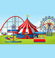 scene with roller coaster and other rides in the vector image vector image