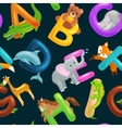 seamless animals alphabet pattern for kids abc vector image