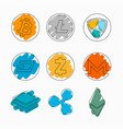 set of cryptocurrencies on white background with vector image