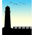 Silhouette lighthouse vector image vector image