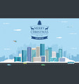snowy urban landscape winter city building vector image