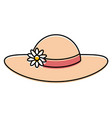 summer female hat with flowers vector image vector image