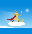 sun wukong monkey king on cloud traveling to sky vector image