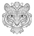 tangle tiger coloring book page for adult vector image