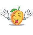 tongue out apricot mascot cartoon style vector image vector image