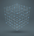 wireframe polygonal element 3d cube with diamonds