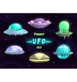 Cartoon fantastic ufo set vector image