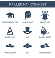 9 hat icons vector image vector image