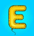 air balloon in shape of letter e pop art vector image vector image