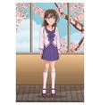 beautiful anime woman student vector image