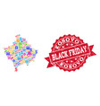 black friday collage of mosaic map of kosovo and vector image vector image