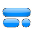 blue oval glass buttons with metal frame set of vector image vector image