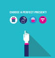 business man hand choosing a present in gift box vector image