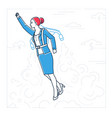 businesswoman flying with a jetpack - line design vector image vector image