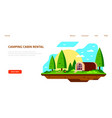 camping cabin banner design flat style vector image vector image