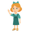caucasian little girl waving hand vector image