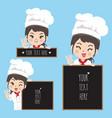 chef woman and blackboard vector image vector image