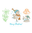christmas doodle owl bird mole jingle bell vector image