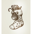 Christmas sock with gifts Sketch vector image